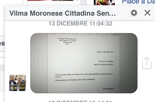 Sollecito interrogazione parlamentare - M5S - On. Moronese
