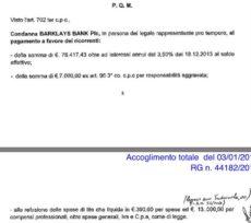 Tribunale di Roma: 03.01.2017 - ACCOGLIMENTO TOTALE - RG N. 44182/2015