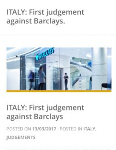 FX LOANS – Italy: First judgement against Barclays