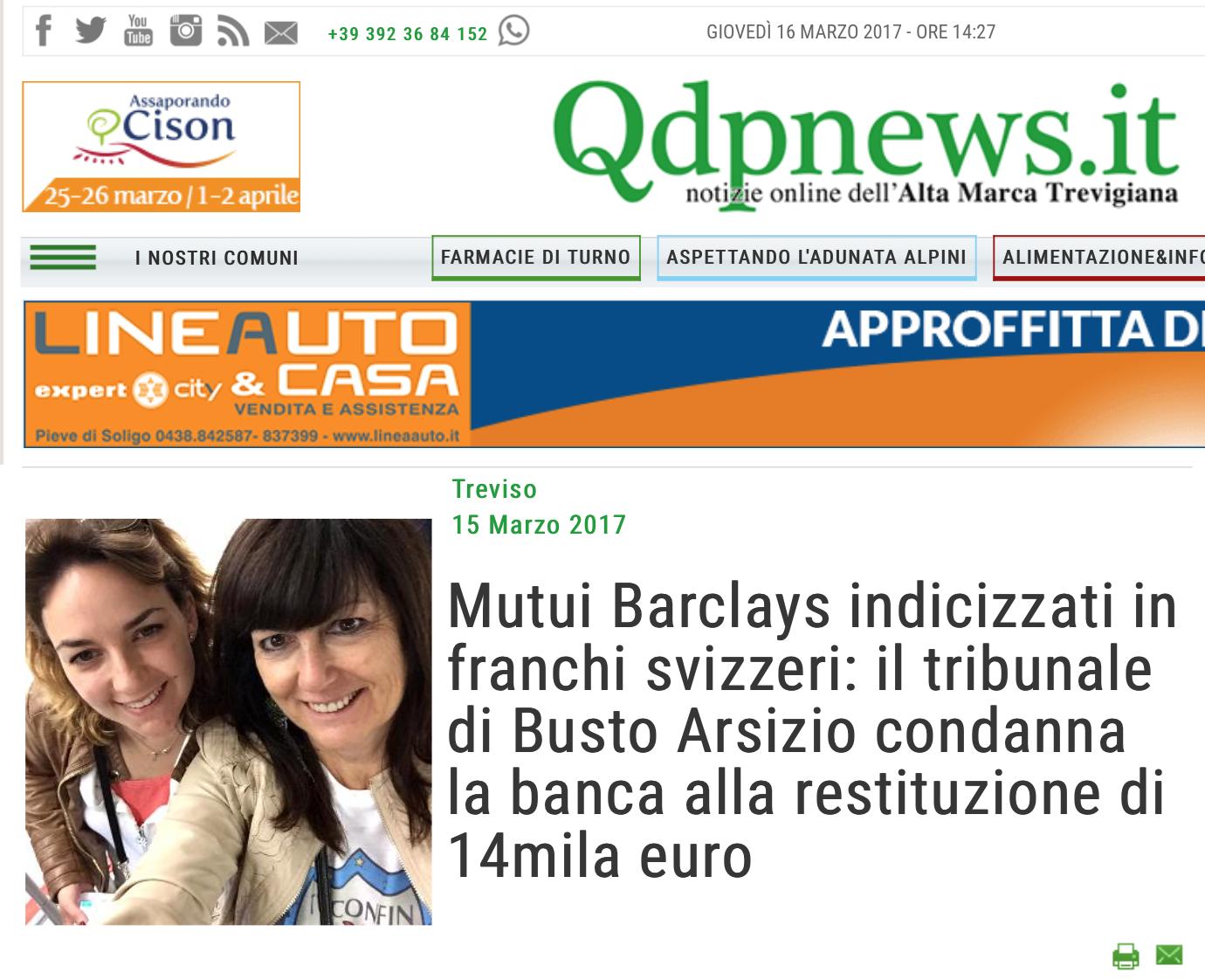 Qdpnews.it: Mutui Barclays indicizzati in franchi svizzeri: il tribunale di Busto Arsizio condanna la banca alla restituzione di 14mila euro